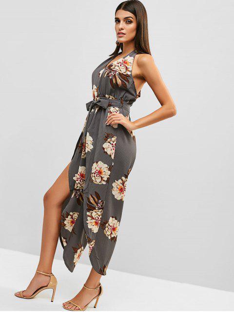 shops Floral Print Backless Belted Overlap Jumpsuit - LIGHT SLATE GRAY S Mobile