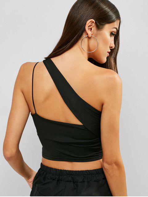 Camisola de alças de um ombro Ruched - Preto M Mobile