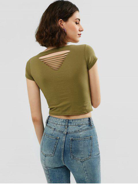 Camiseta lisa de cosecha rasgada - Ejército Marrón Talla única Mobile