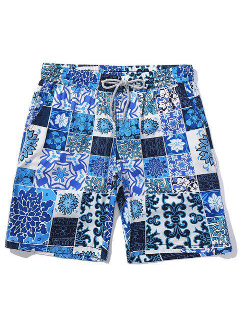 Short de plage décontracté à imprimé floral - Bleu Myrtille S Mobile
