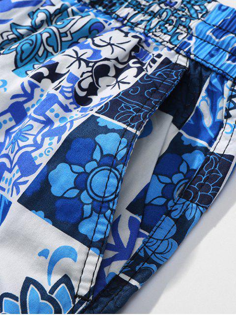 Short de Plage Décontracté Fleuri Imprimé Partout - Bleu Myrtille M Mobile