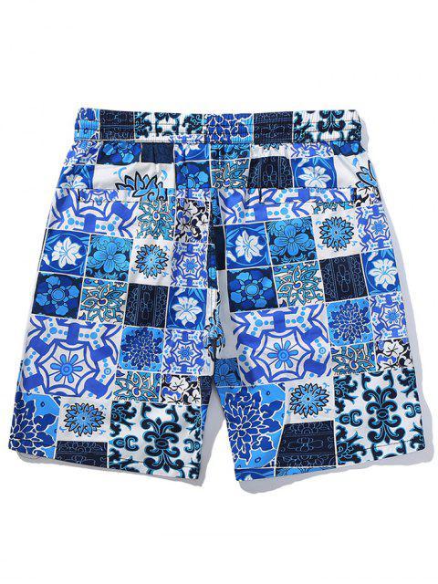 Short de plage décontracté à imprimé floral - Bleu Myrtille L Mobile