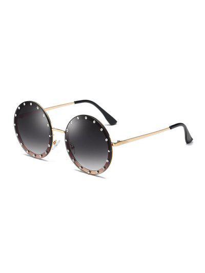 03caf700d4097 Óculos De Sol Redondos Ao Ar Livre Strass - Cinza Claro