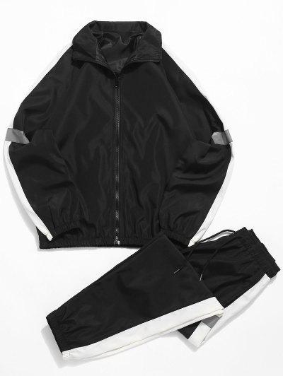 4452d9d73 Raglan Sleeves Color Block Casual Suits - Preto Xs