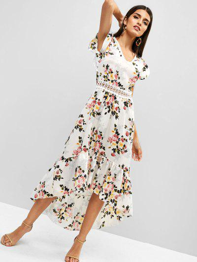 448d9870c1 ... Cut Out Flower High Low Boho Flounce Dress - White M