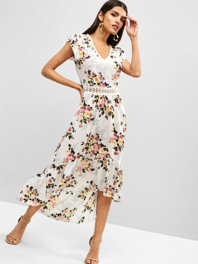 8620f531096c8 Cut Out Flower High Low Boho Flounce Dress - White L ...
