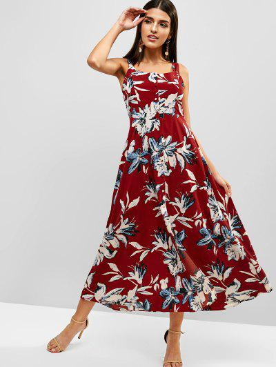 c17d96710ee6 ... Midi Flower Bohemian Tied Split Dress - Red M