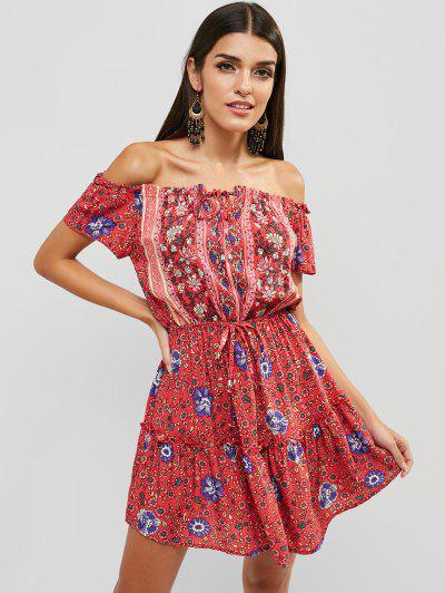 603ced509d55 Ethnic Floral Off Shoulder Bohemian Dress - Red - Red Xl