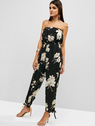 05f603770ff ... Floral Print Strapless Wide Leg Jumpsuit - Black L