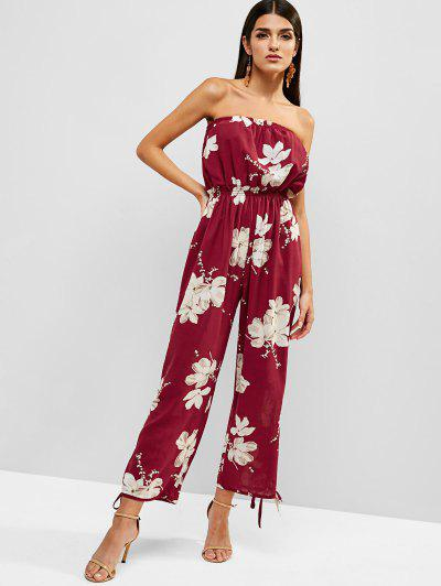 6148735fab3 Floral Print Strapless Wide Leg Jumpsuit - Red Wine - Red Wine L