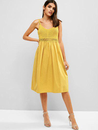 6b314c266ff ZAFUL Crochet Panel A Line Cami Dress - Bee Yellow S ...