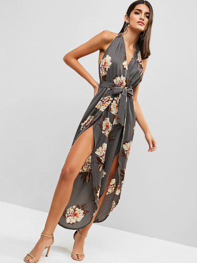 33facb5fa26 ... Floral Print Backless Belted Overlap Jumpsuit - Light Slate Gray L