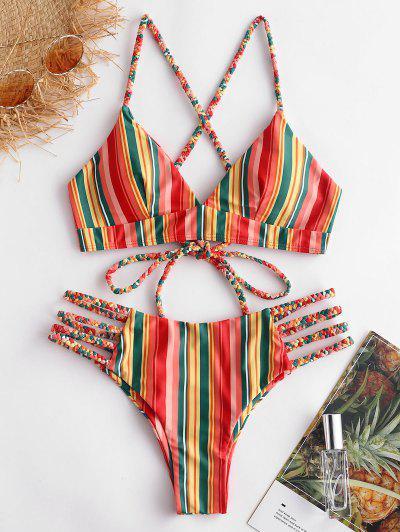 ZAFUL Set Bikini Stringato Intrecciato A Strisce Colorate - Multi Colori-a L