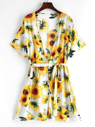 ZAFUL Sunflower Belted Beach Cover Up