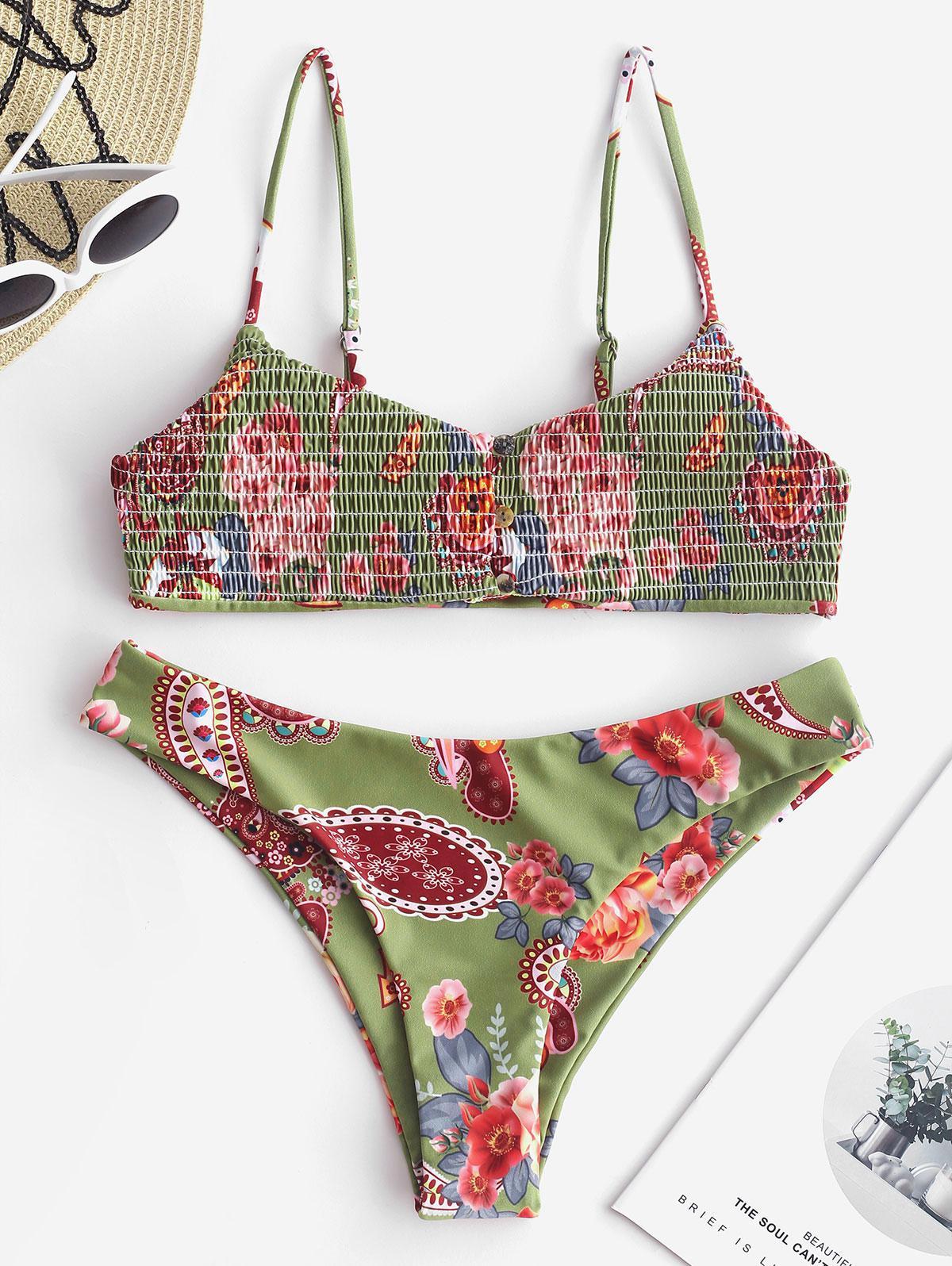 ZAFUL Flower Smocked Button Front Bikini Set thumbnail