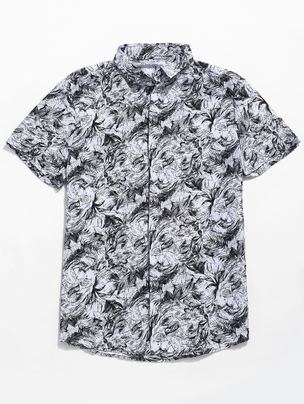 Palm Leaf Print Button Up Shirt, White