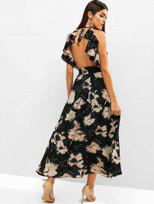 فتح العودة الزهور الكشكشة فستان ماكسي - أسود S
