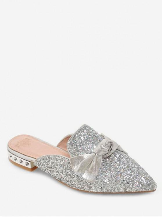 Glitter Bow Sequins Low Heel Slides LIGHT PINK SILVER