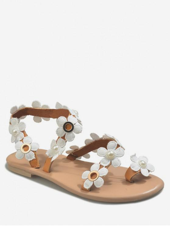trendy Toe Loop Flat Sandals With Flowers - WHITE EU 37