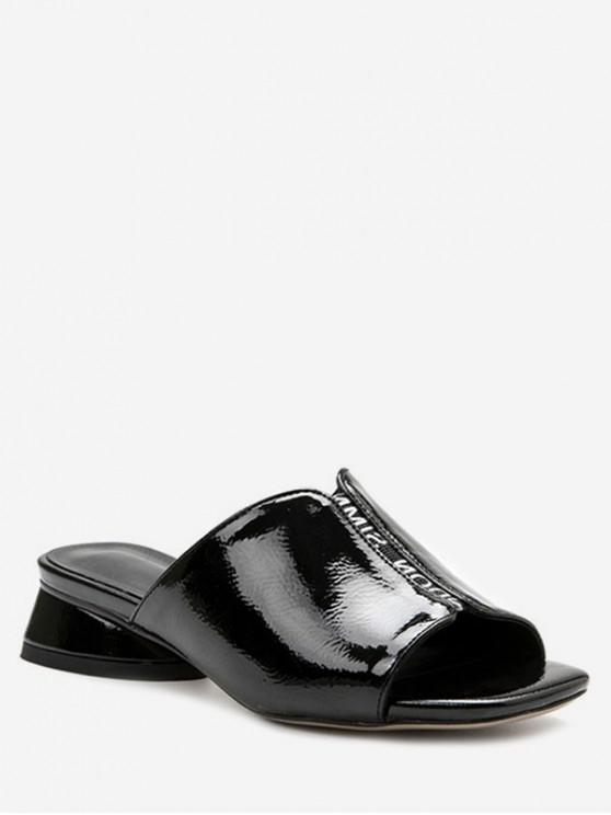 ef8d8611863 40% OFF   NEW  2019 Patent Leather Chunky Heel Slippers In BLACK
