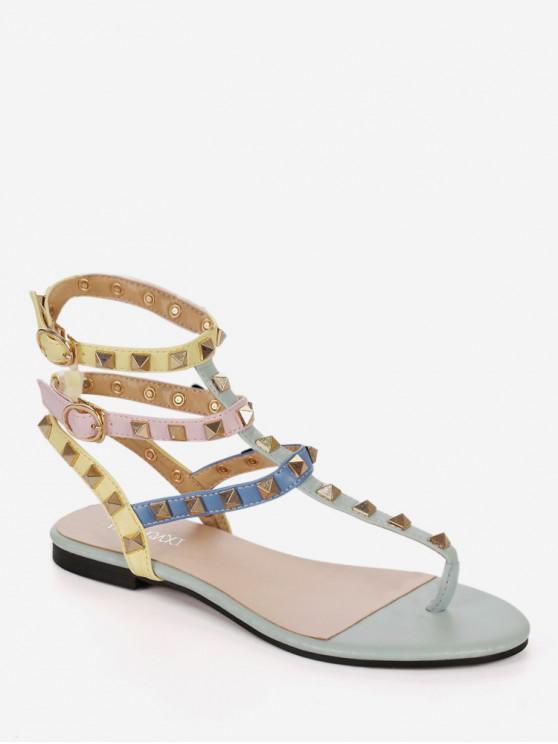 Sandalias coloridas de la correa del gladiador del remache - Multicolor-B EU 36