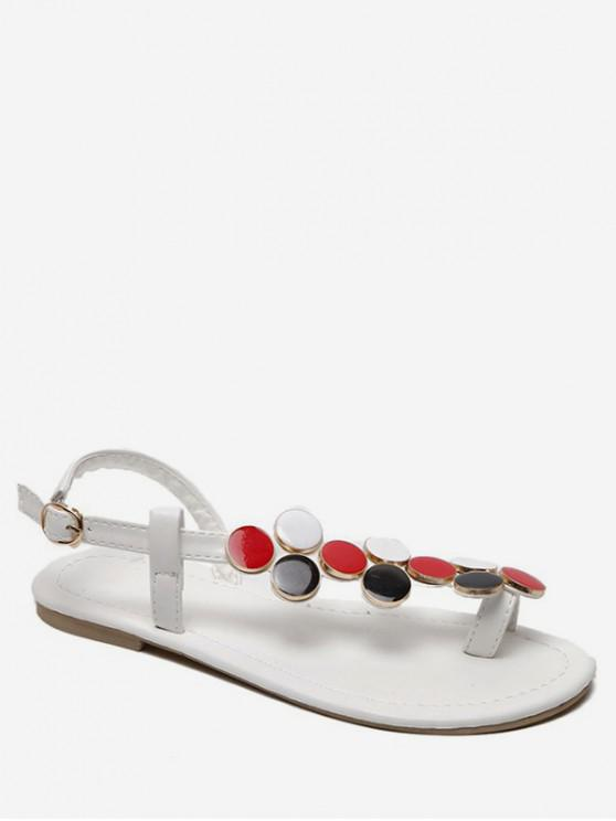 Sandalias decorativas con disco de metal - Blanco EU 38