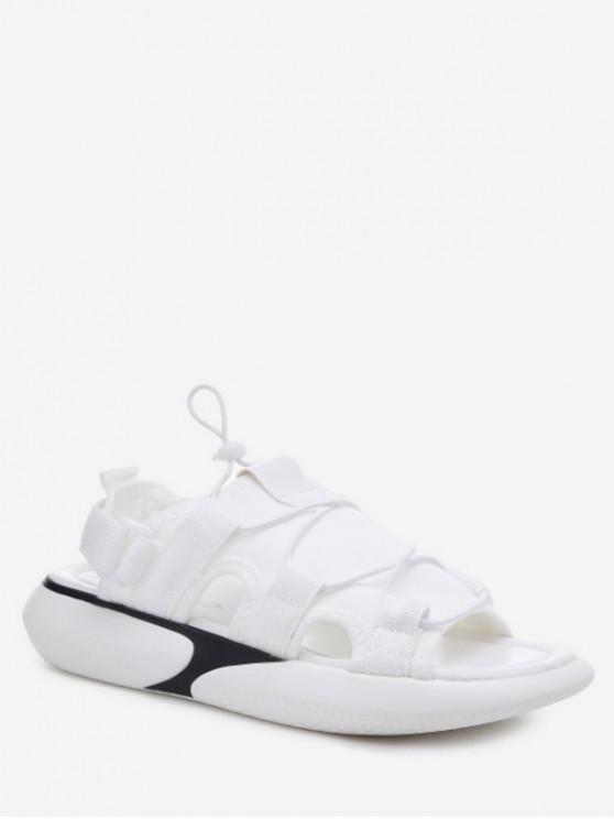 lady Elastic Cloth Casual Platform Sandals - WHITE EU 35