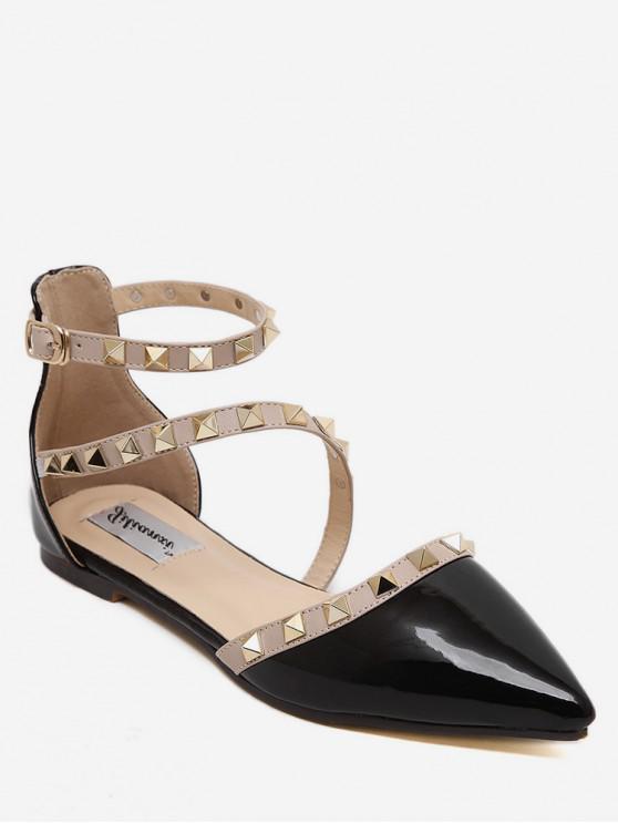 outfits Rivet Point Toe Flat Sandals - BLACK EU 37
