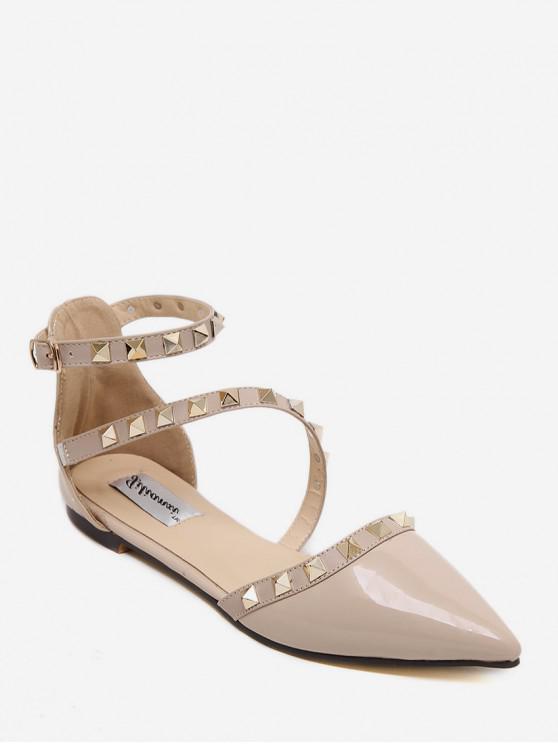 Flache -Sandalen mit Nietspitze - Aprikose EU 39