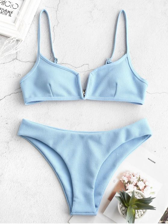 trendy ZAFUL Ribbed V Wired Cami Bikini Set - LIGHT SKY BLUE L