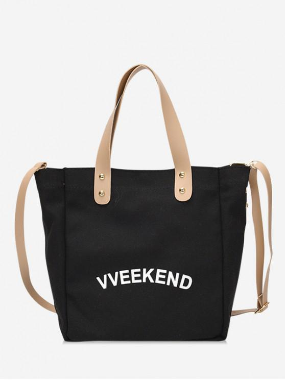 affordable Canvas Ins Style Character Pattern Tote - BLACK