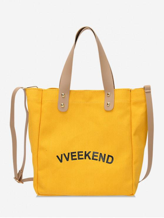 womens Canvas Ins Style Character Pattern Tote - YELLOW