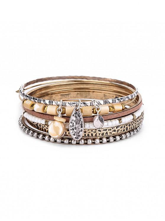 online 6Pcs Beaded Carved Bracelet Set - MULTI