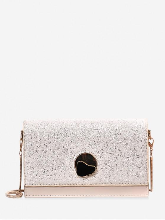 latest Glitter Chain Flap Crossbody Bag - WHITE