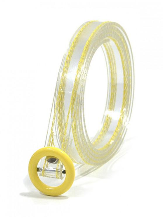 ladies Round Buckle Transparent Belt - YELLOW