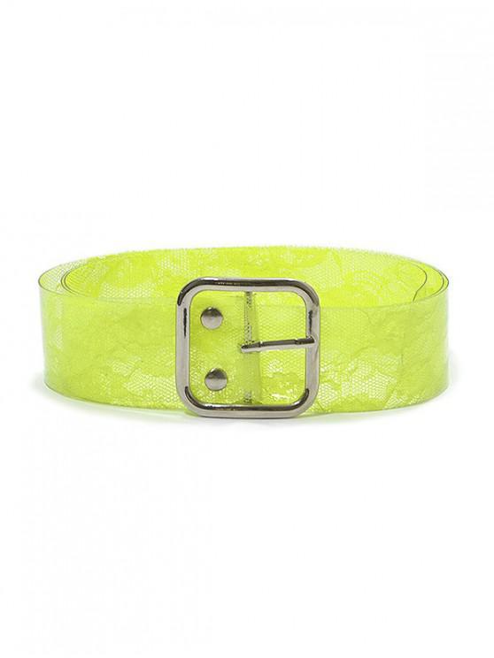 Cinturón de hebilla con estampado de encaje de PVC - Verde Amarillo