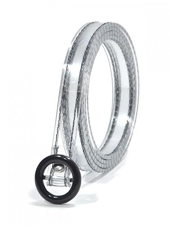 outfit Round Buckle Transparent Belt - BLACK