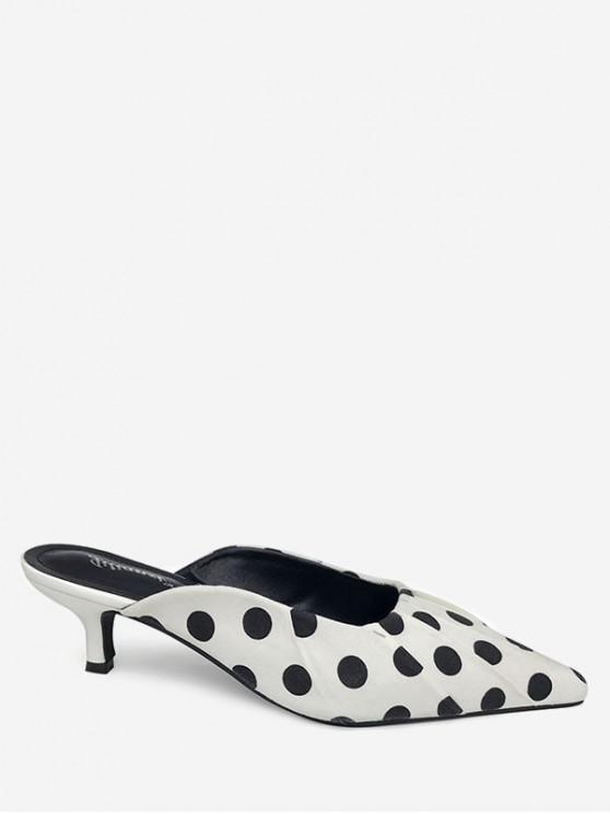 sale Pointed Toe Polka Dot Slides - WHITE EU 38
