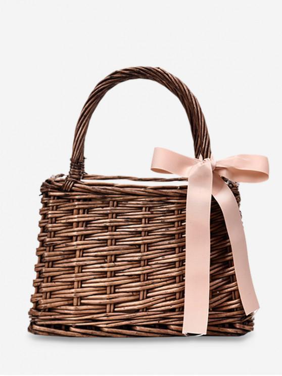 buy Hand Woven Straw Bow Beach Handbag - BROWN