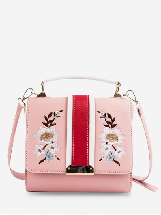 Bolso de hombro bordado con estampado de flores cuadrado - Rosado