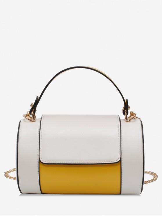Bolso de hombro pequeño de cuero articulado - Amarillo