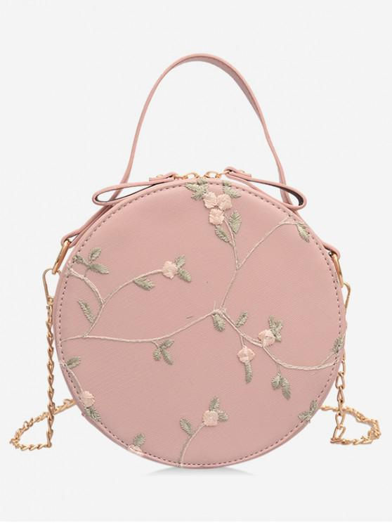 women PU Leather Lace Chain Crossbody Bag - PINK