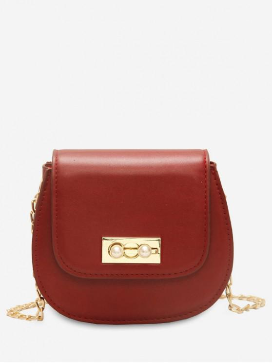 women's Faux Pearl Chain Flap Crossbody Bag - RED