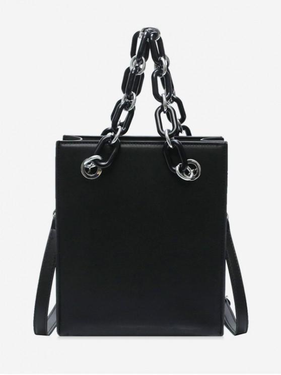 best PU Leather Chain Crossbody Bag - BLACK