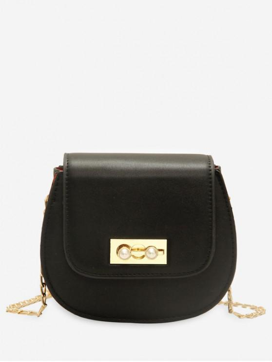 hot Faux Pearl Chain Flap Crossbody Bag - BLACK