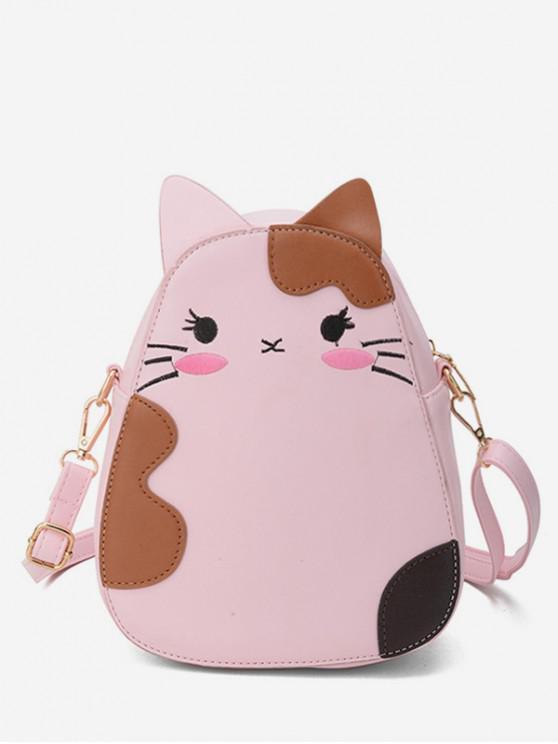 ladies Summer Cat Animal Print Shoulder Bag - PINK
