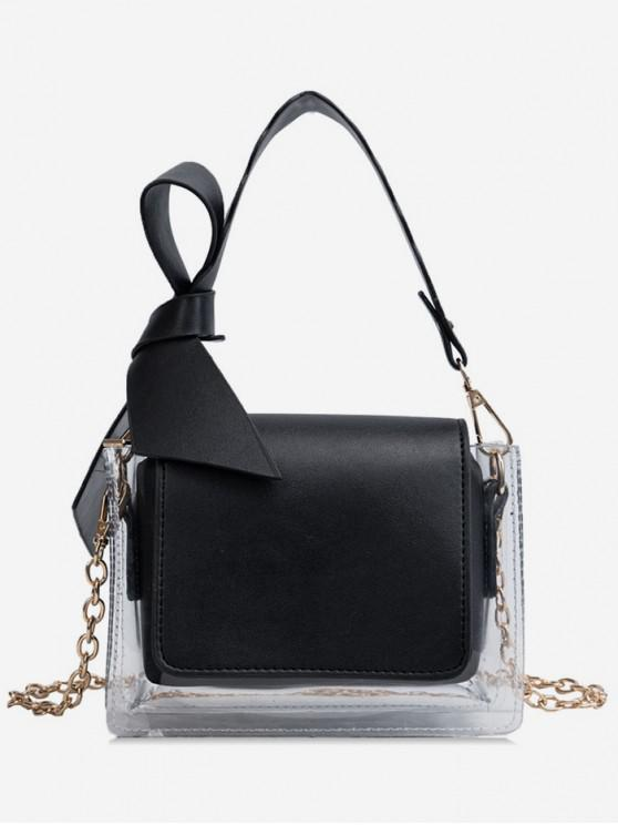 outfit Transparent Bowknot Design Shoulder Bag - BLACK