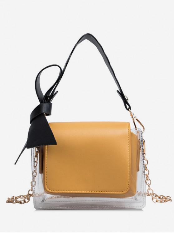 shops Transparent Bowknot Design Shoulder Bag - YELLOW