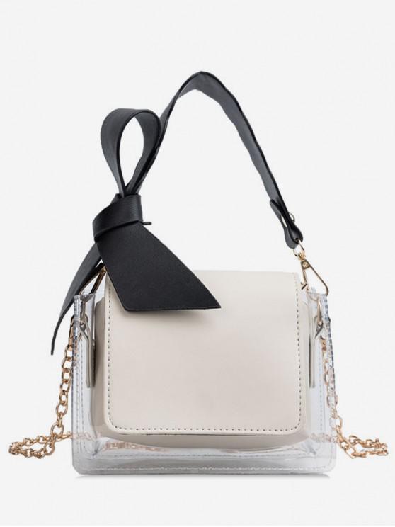 fashion Transparent Bowknot Design Shoulder Bag - WHITE