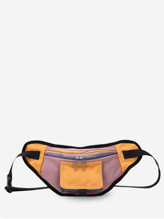affordable Color Block Canvas Crossbody Bag - YELLOW
